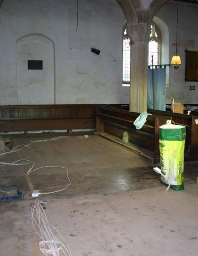 The space created by the pews being removed