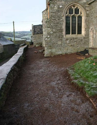 Front of church path without grass