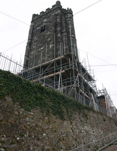 Scaffolding going up the tower