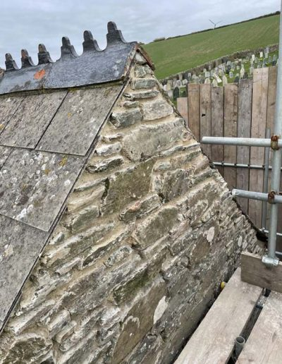 The rebuilt Vestry wall at St Sylvester's Chivelstone - roof yet to be extended