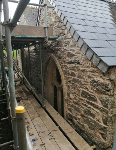 Vestry roof completed. The wall has been rebuilt and repointed