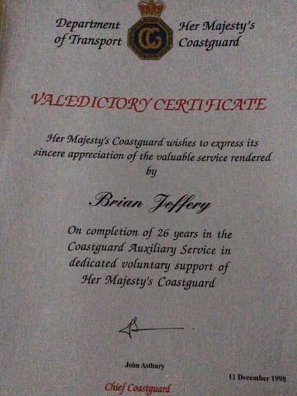 Brian Jeffery valedictory certificate her Majesty's Coastguard