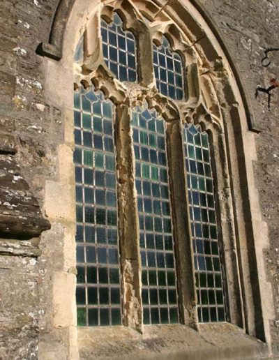 Window of St Sylvester's Church badly in need of repair