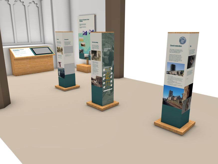 Interpretation towers for display in St Sylvester's Church