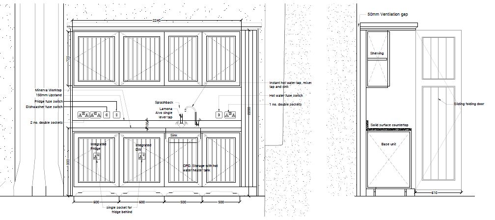 Kitchenette drawing for St Sylvester's Chivelstone