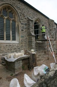 Rebuilding the window at St Sylvester's Church, Chivelstone