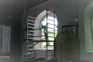 Refitting the window at St Sylvesters, Chivelstone
