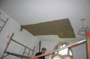 Repairing vestry ceiling